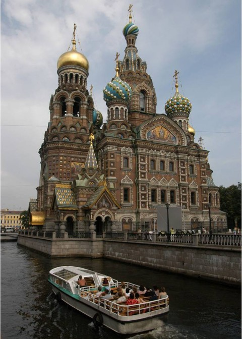 Church of the Savior on the Spilled Blood St Petersburg Russia and canal 2007 RJB
