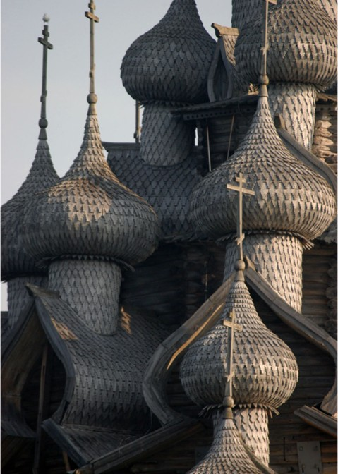 Onion domes of Transfiguration Cathedral Kizhi Island Lake Onega Russia 2007