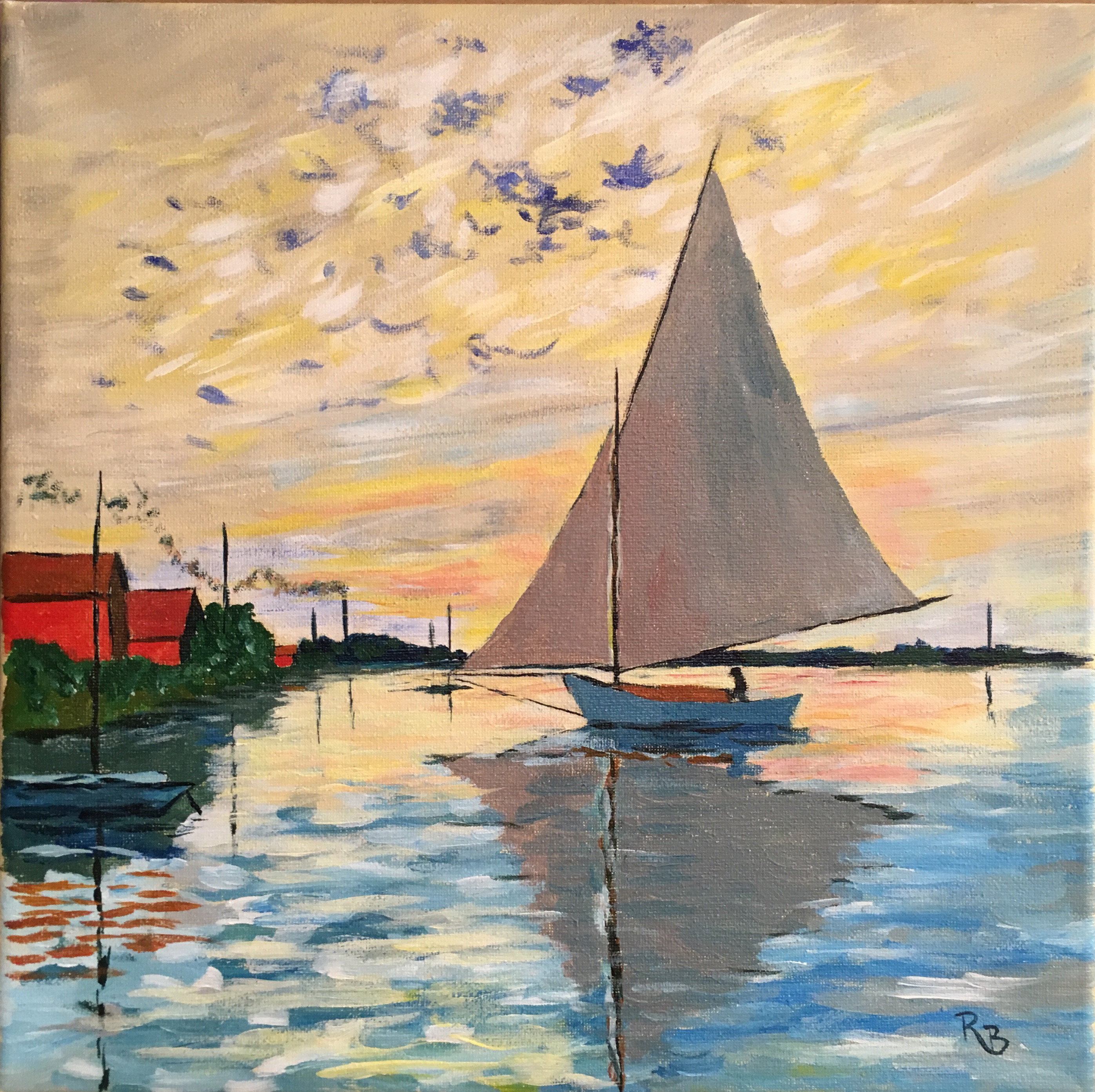 Sailboat - After a Monet Painting - Acrylic Roy Beckemeyer